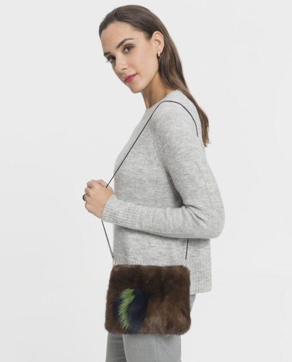 Bolso de visón marrón para mujer; marca Swarz