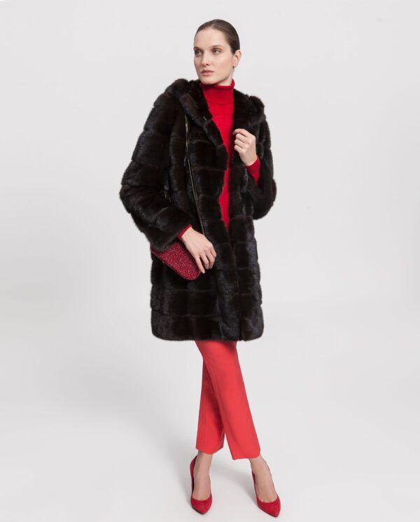 Abrigo largo de visón marrón con capucha para mujer marca Saint Germain