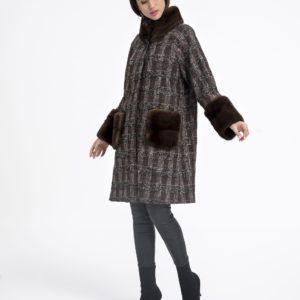 Abrigo de mujer De la Roca de textil con visón de color marrón