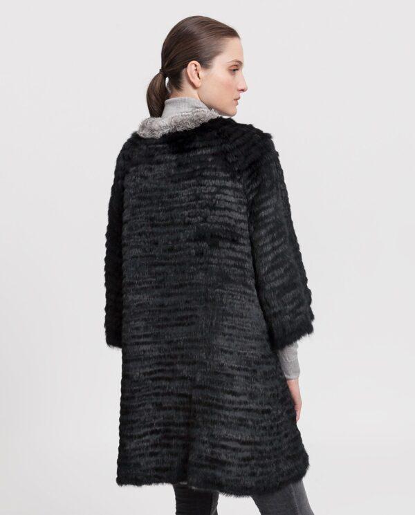 Abrigo de mujer De la Roca de conejo chinhilla negro reversible