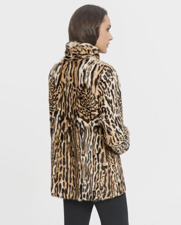 Chaqueta de piel kid con estampado de leopardo para mujer marca De la Roca