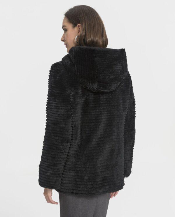 Abrigo de mujer Swarz de rex negro reversible con capucha