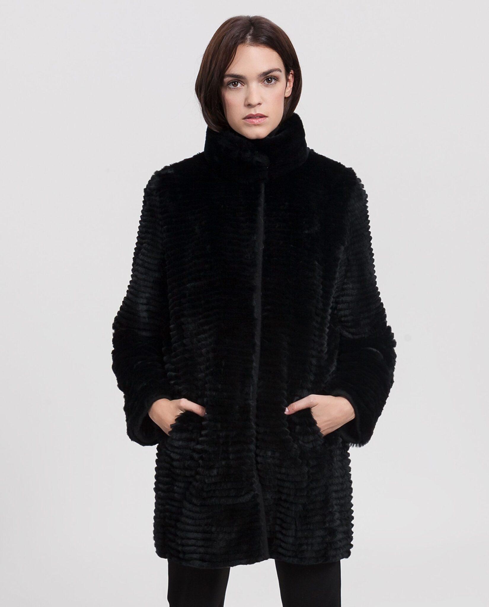 Abrigo de mujer Swarz de rex negro reversible gabardina