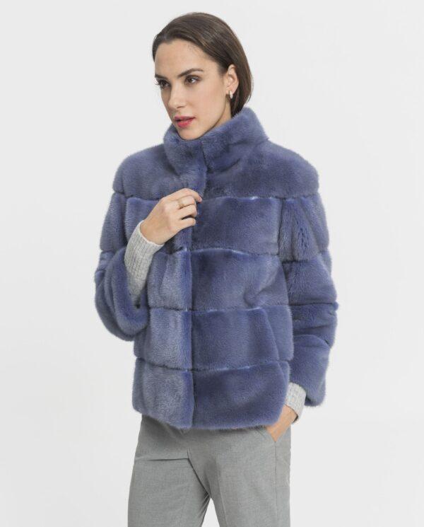 Chaquetón de visón Saga color azul lavanda para mujer marca De la Roca