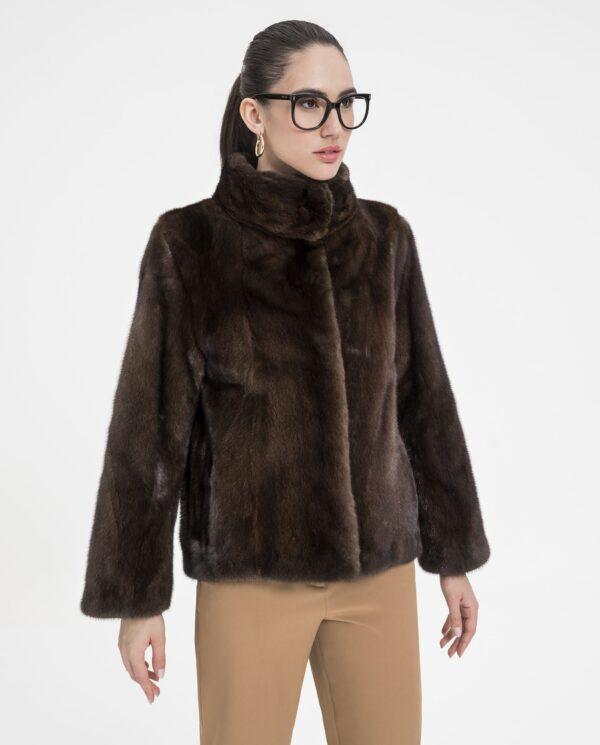 Chaqueta de pelo de visón marrón para mujer De la Roca