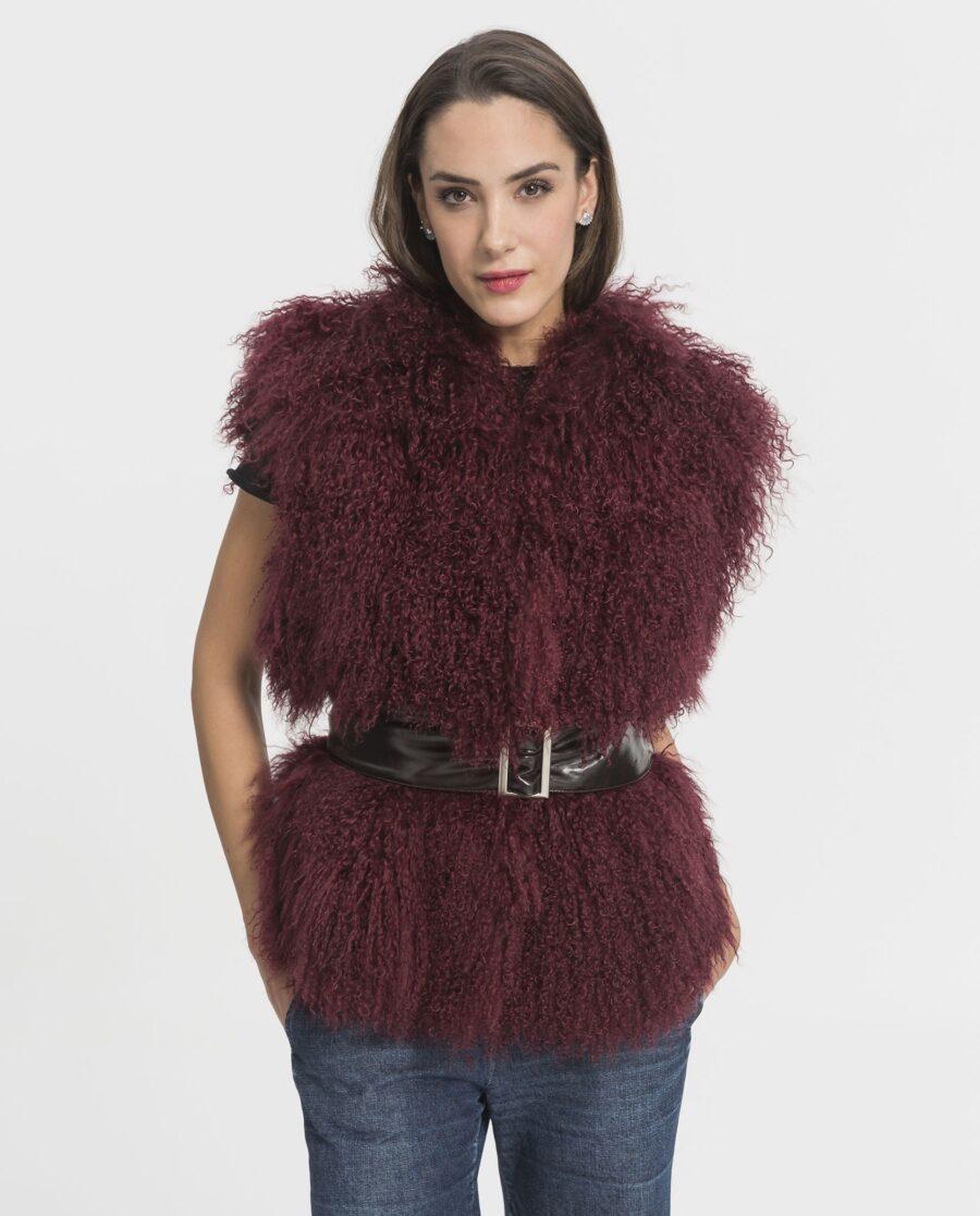 Chaleco de lana de cordero de Mongolia color burdeos marca De la Roca