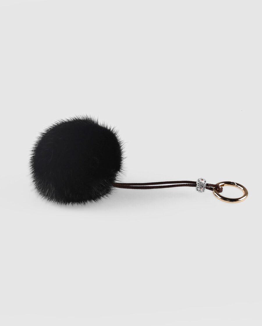 Llavero pompón negro de pelo de visón para mujer marca Swarz