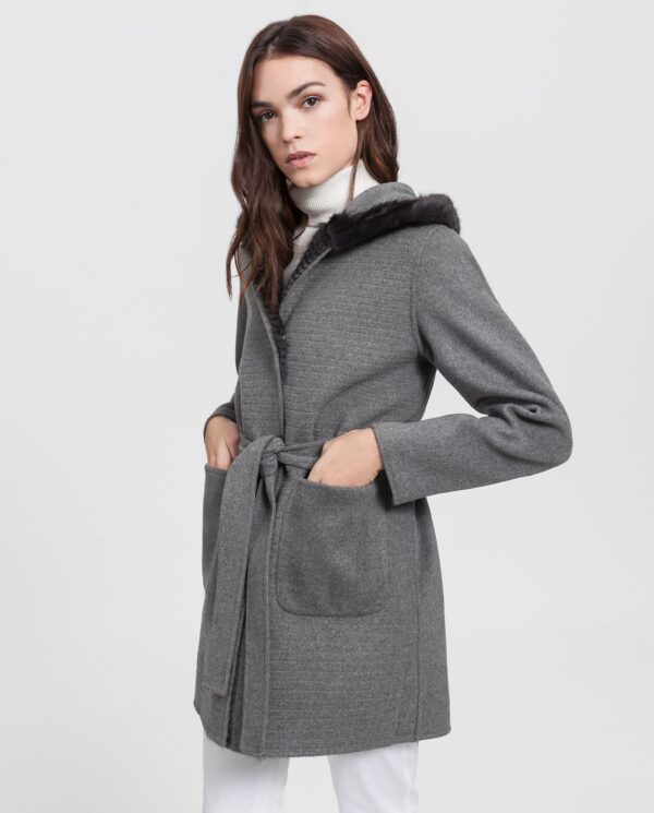 Abrigo de mujer Swarz Saga de visón marrón y punto de lana reversible