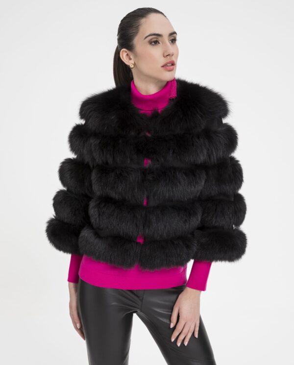 Chaqueta de zorro negro para mujer, con lomos horizontales marca Marcelo Rinaldi
