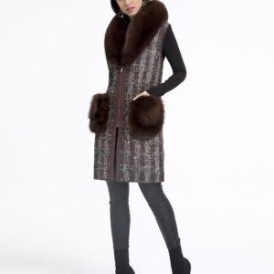 Chaleco de mujer De la Roca de textil con zorro de color marrón