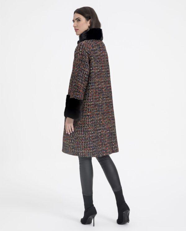 Abrigo de mujer De la Roca de textil con visón de color negro