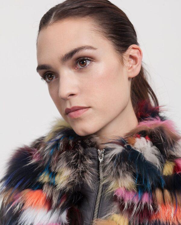 Cazadora de pelo de zorro multicolor para mujer marca De la Roca