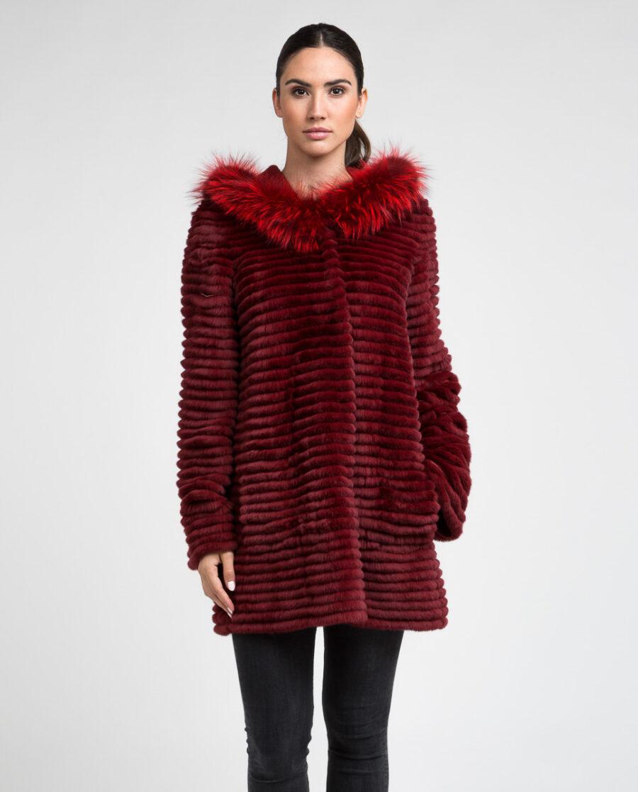 Abrigo de pelo de mujer con capucha reversible de rex rasado y zorro