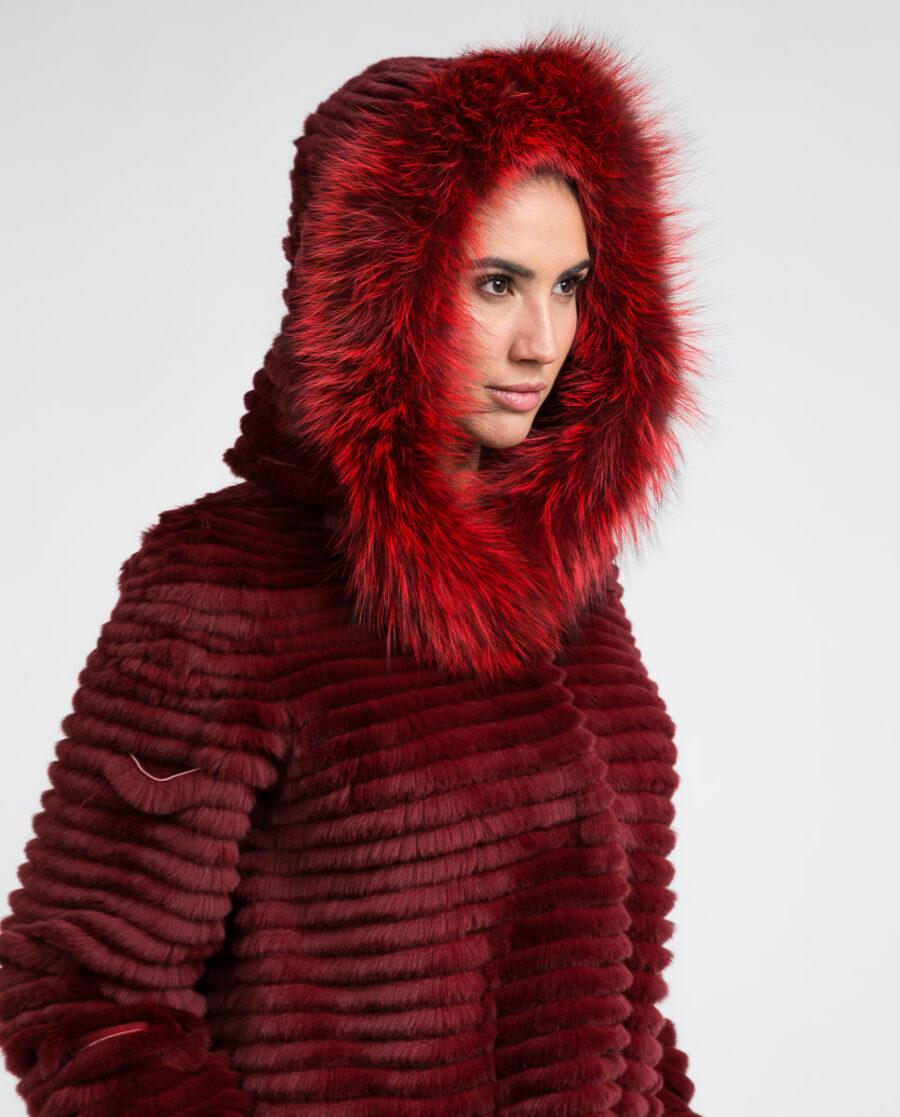 Abrigo de pelo de rex rasado y zorro con capucha reversible