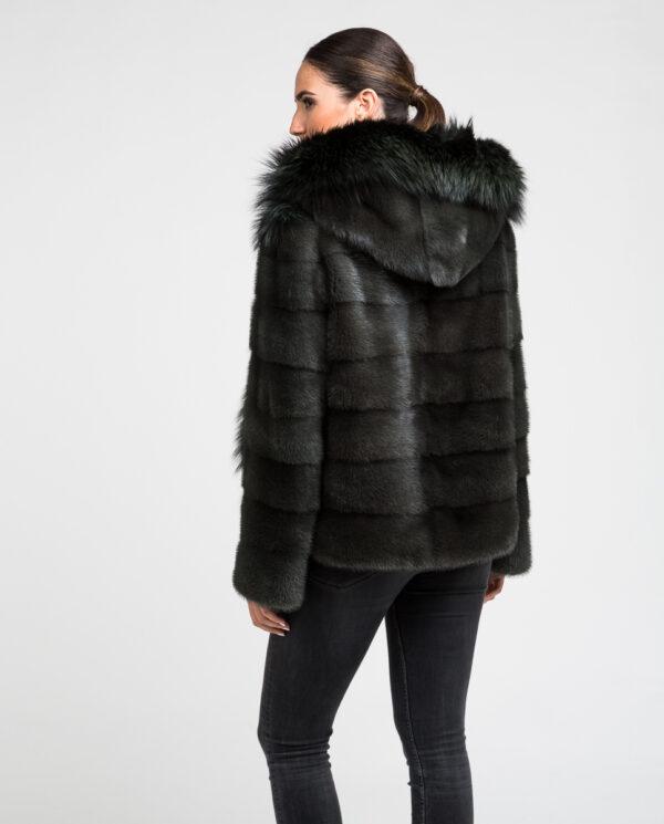 Abrigo de pelo de mujer con capucha de visón y zorro