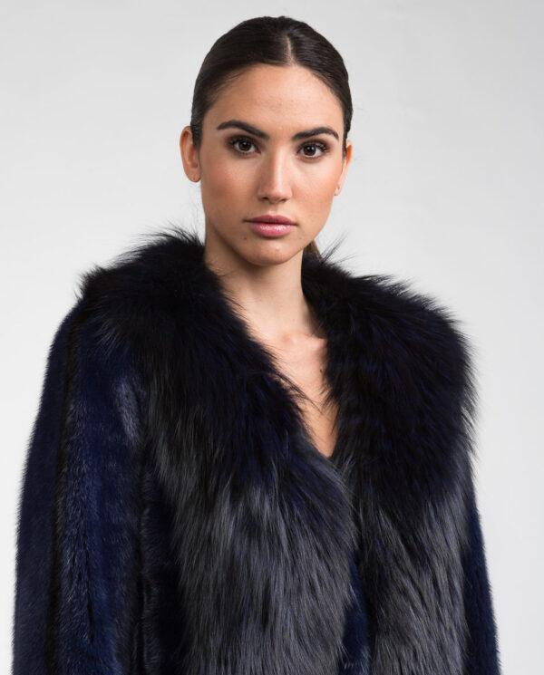 chaqueta de vison y zorro azul