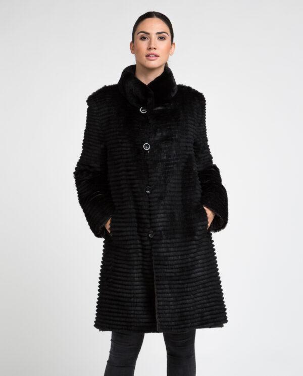 Abrigo de pelo de mujer de rex rasado reversible gabardina