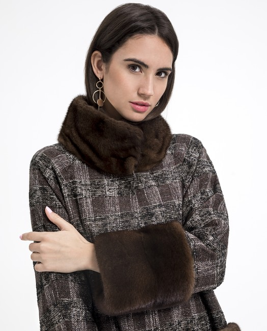 abrigo texil vison marron