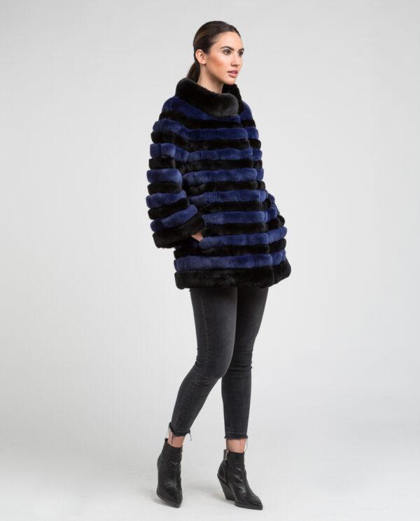 Abrigo de pelo de mujer de rex rasado bicolor