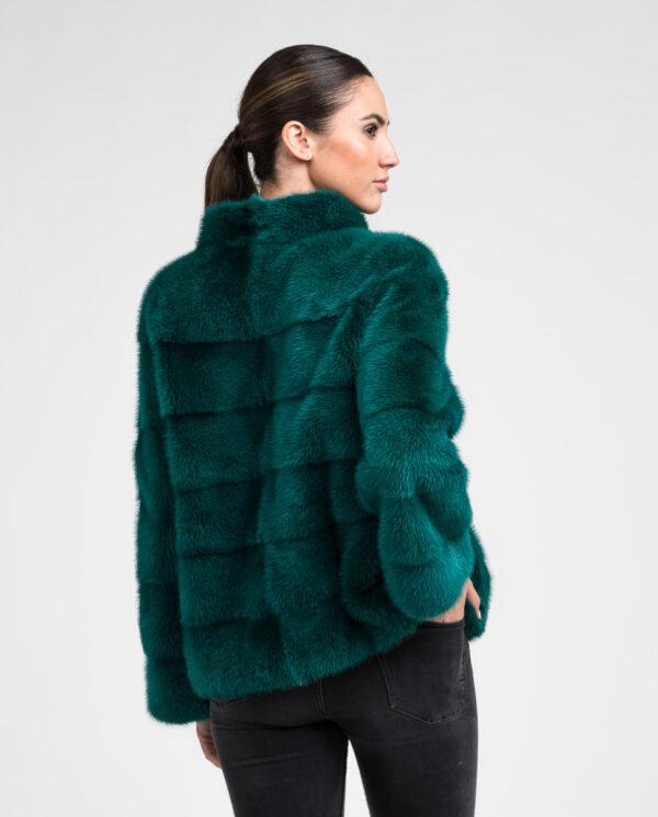 Abrigo de pelo de mujer de visón con cuello mao