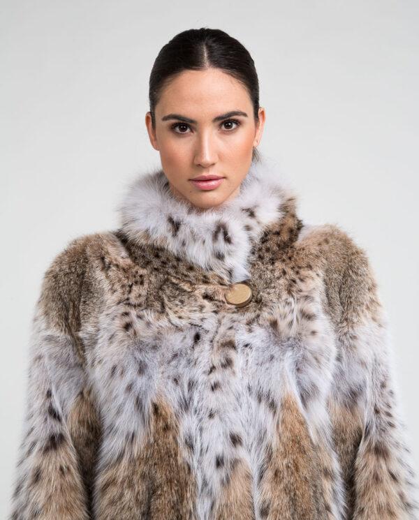 Abrigo de pelo de mujer de gato lince natural con cuello mao