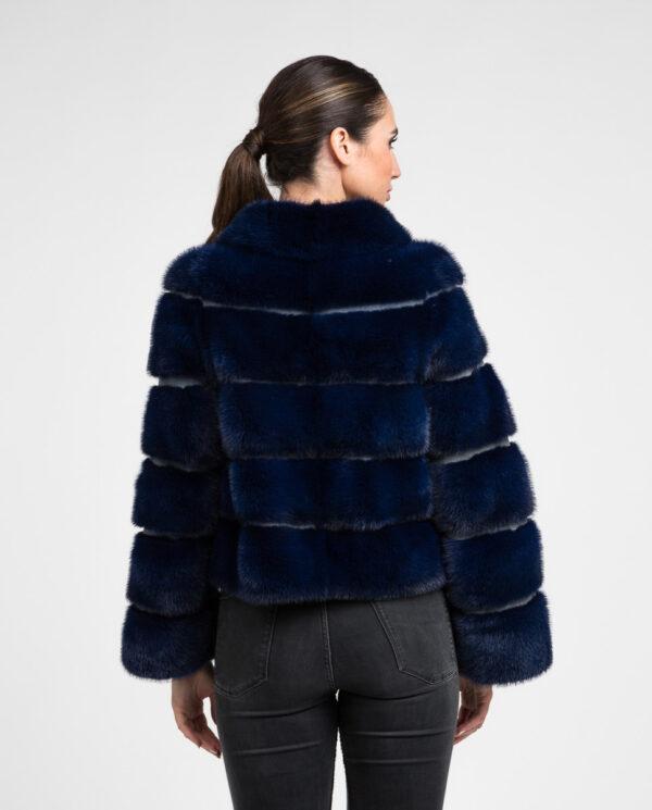 Chaquetón de pelo de visón Saga color azul para mujer marca De la Roca abrigo corto de visón azul marino
