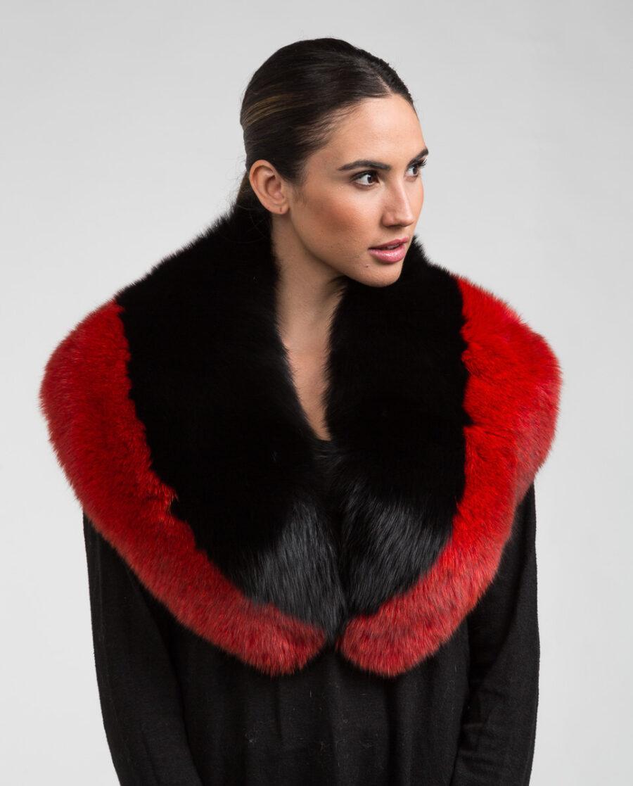 Estola de pelo de zorro en color multicolor, negra y roja marca Swarz