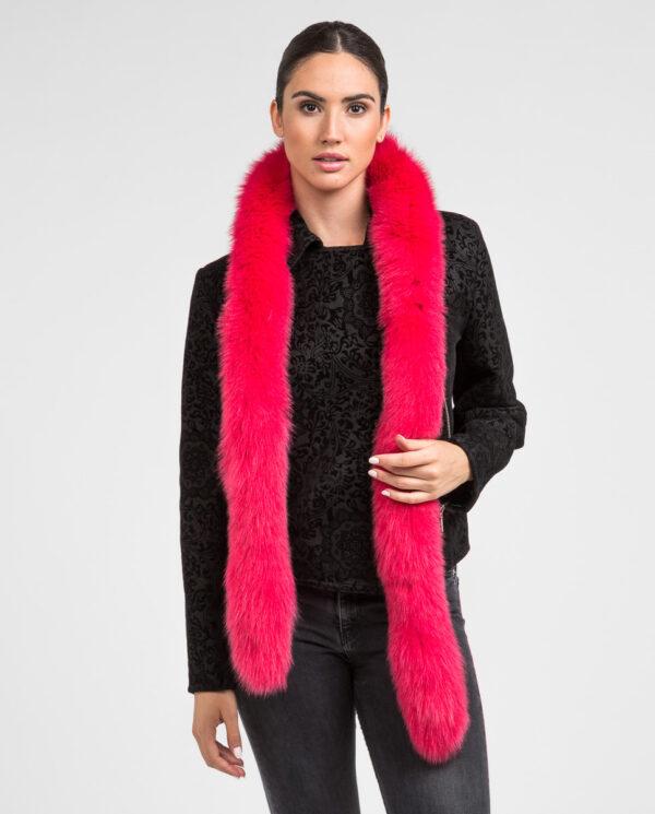 Cuello Swarz de pelo de zorro en color rosa fucsia