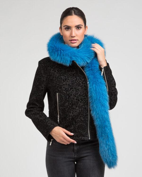 Cuello Swarz de pelo de zorro en color azul turquesa
