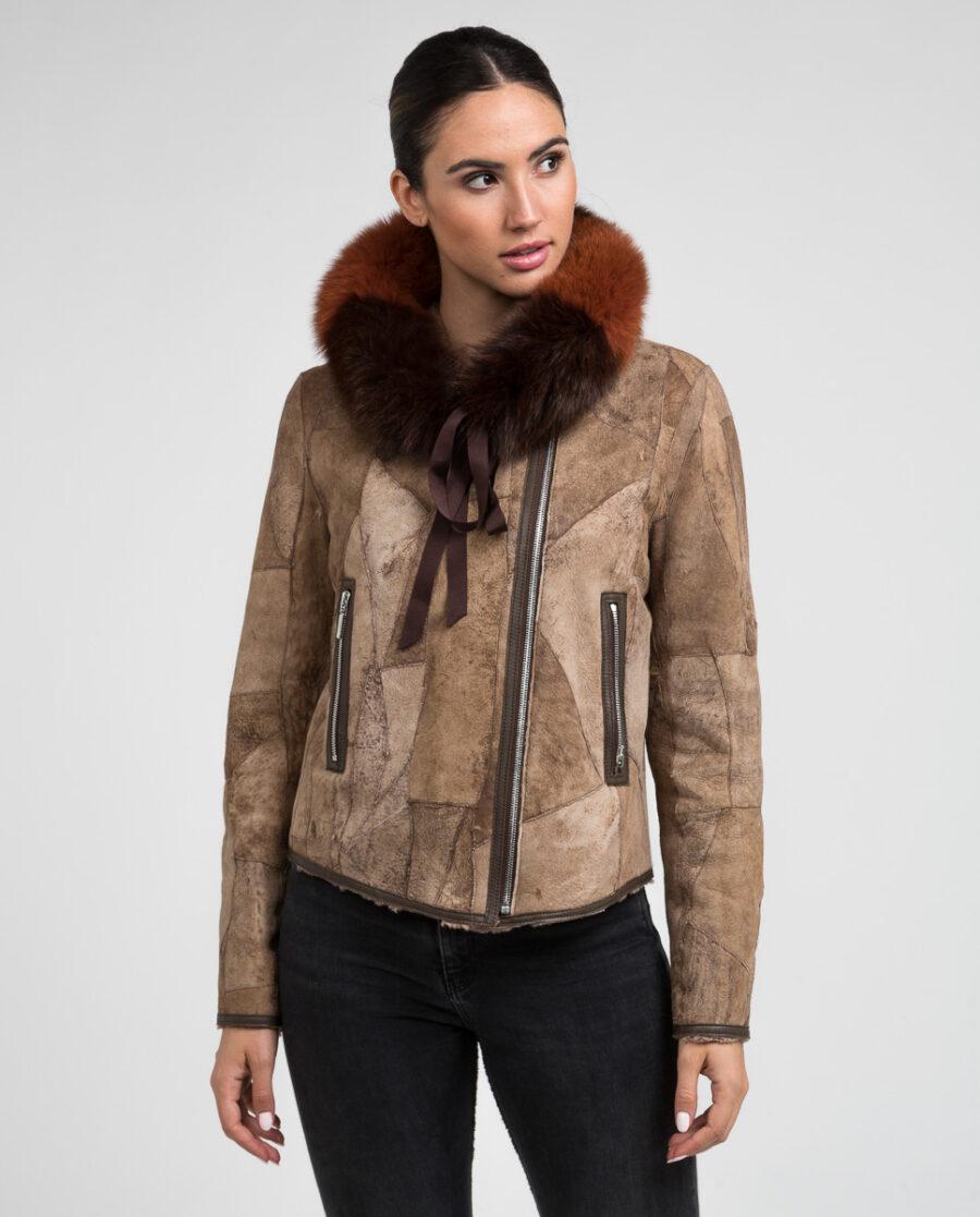 Cuello marrón multicolor de pelo de zorro marca Swarz