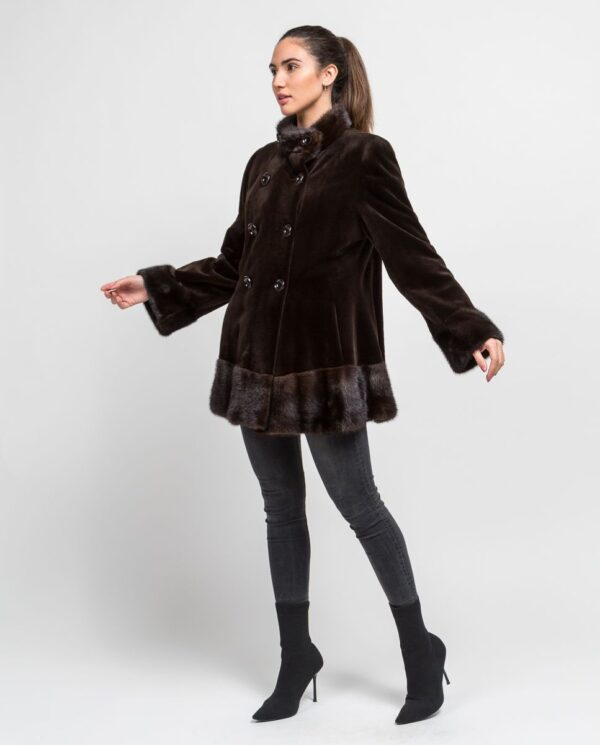 Abrigo de pelo de visón rasado corto para mujer marca De la Roca