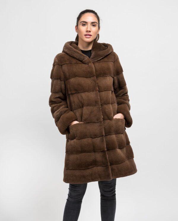 Abrigo largo de pelo de visón despinzado marrón claro para mujer marca De la Roca