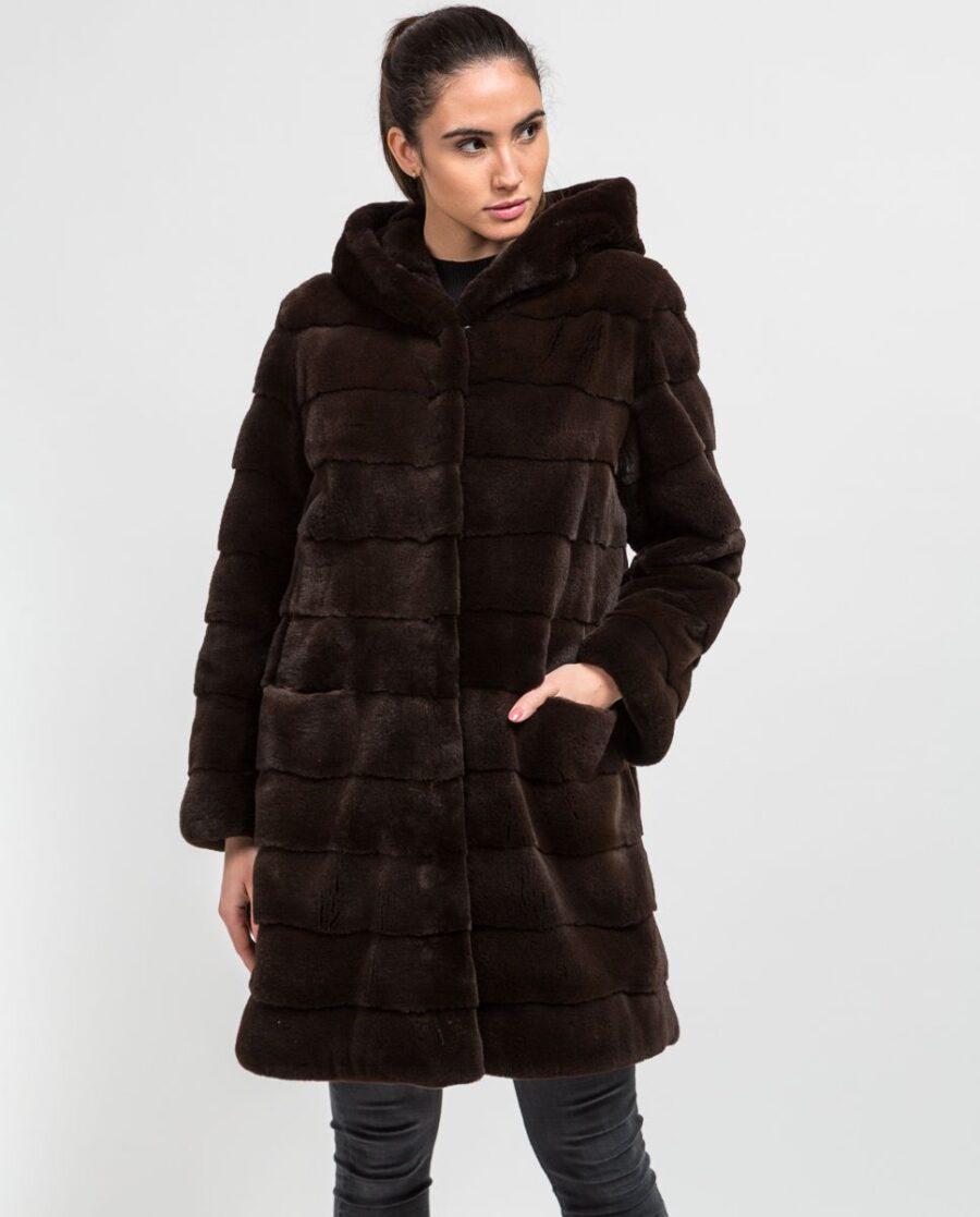 Abrigo largo de pelo de visón despinzado marrón con capucha para mujer marca De la Roca
