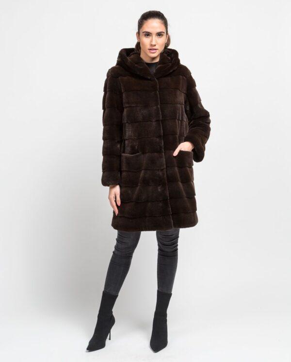 Abrigo largo de pelo de visón despinzado marrón con capucha para mujer marca De la Roca bolsillo entero