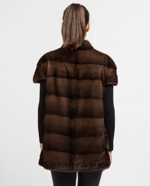 Chaleco largo de pelo de visón marrón De la Roca espalda