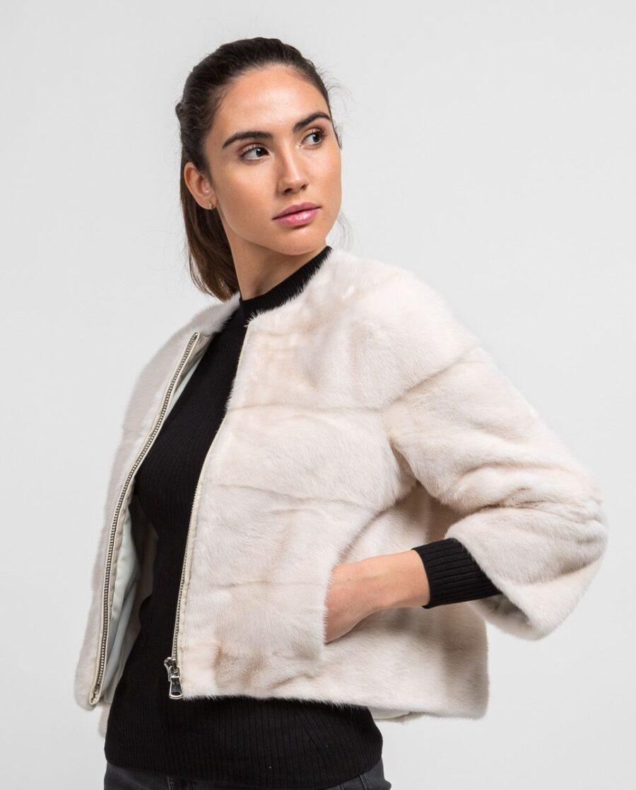 Chaqueta blanca de pelo de visón corta para mujer marca Saint Germain con bolsillos laterales