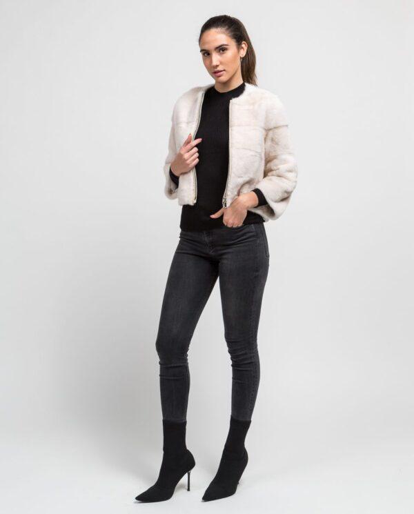 Chaqueta blanca de pelo de visón corta para mujer marca Saint Germain cuerpo entero