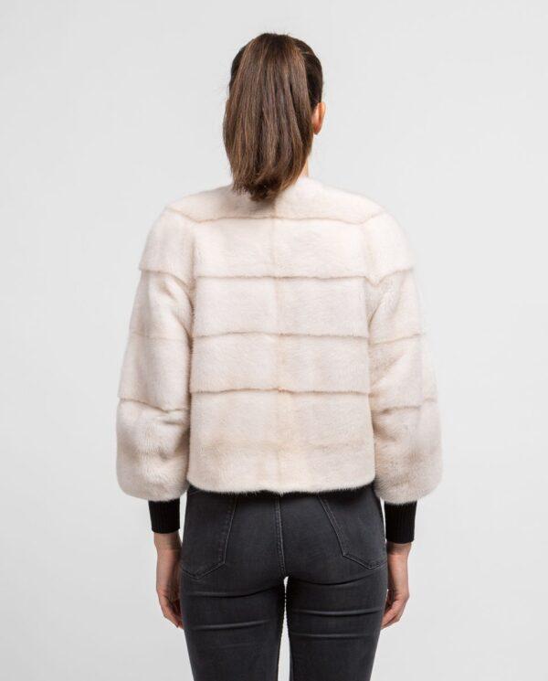 Chaqueta blanca de pelo de visón corta para mujer marca Saint Germain espalda lomos horizontales