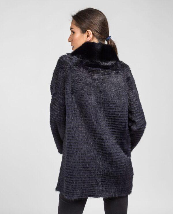 Abrigo de pelo de visón en color azul oscuro reversible con punto y trabajado con estilo linner marca Swarz espalda