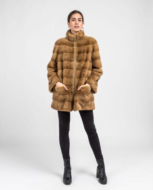 Abrigo marrón de pelo de visón con cremallera para mujer marca Saint Germain bolsillos